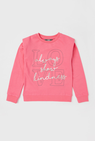 Printed Sweatshirt with Padded Shoulder and Long Sleeves