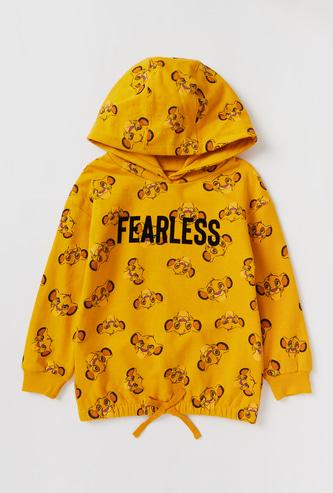 All-over Simba Print Sweatshirt with Hood and Long Sleeves