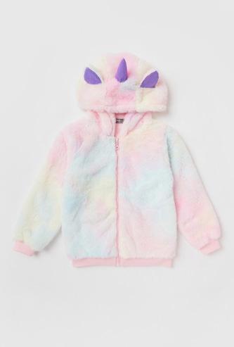Plush Hooded Jacket with Unicorn Appliques