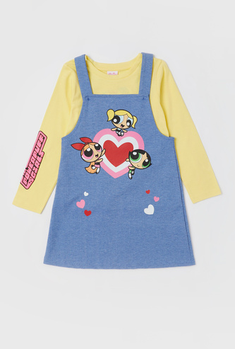 The Powerpuff Girls Printed T-shirt and Pinafore Set