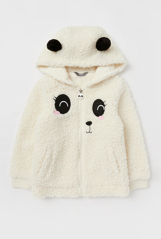 Panda Embroidered Hooded Borg Jacket with Long Sleeves and Zip Closure