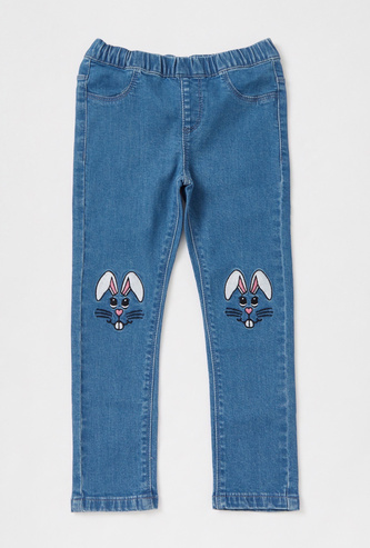 Denim Jeggings with Rabbit Embroidery and Elasticated Waistband