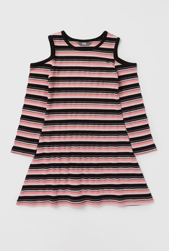 Striped Cold Shoulder Dress with Round Neck and Long Sleeves