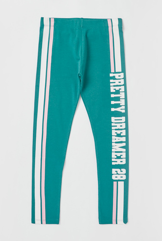 Text Print Leggings with Elasticated Waistband and Side Stripe Detail
