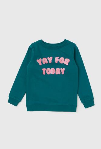 Typographic Print Sweatshirt with Long Sleeves