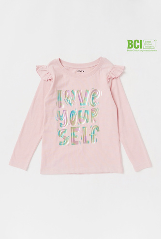 Slogan Print T-shirt with Crew Neck and Long Sleeves
