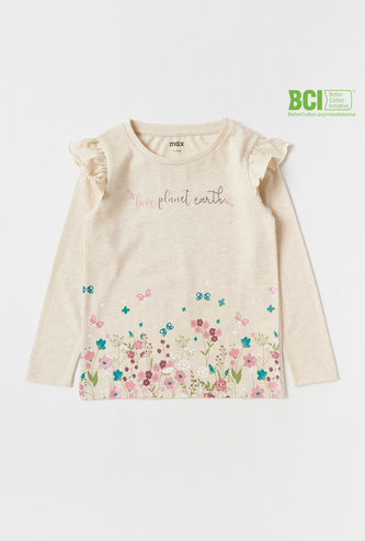 Graphic Print T-shirt with Long Sleeves and Frill Detail