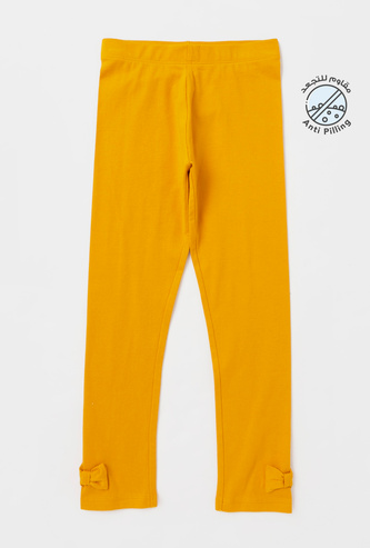 Solid Leggings with Elasticised Waistband and Bow Detail