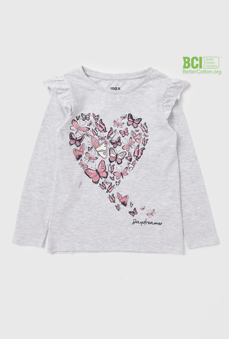 Butterfly Print T-shirt with Long Sleeves and Ruffle Detail