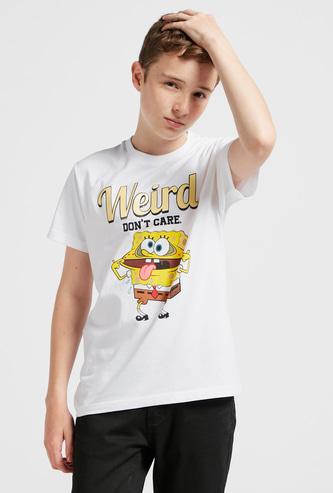Sponge Bob Graphic Print T-shirt with Round Neck