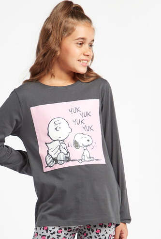 Snoopy and Charlie Print T-shirt with Round Neck and Long Sleeves