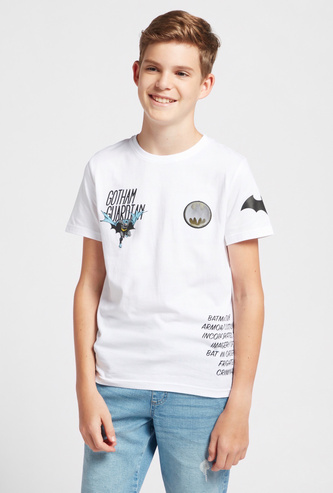 Batman Graphic Print T-shirt with Crew Neck and Short Sleeves