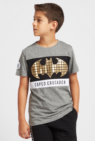 Batman Foil Print T-shirt with Round Neck and Short Sleeves