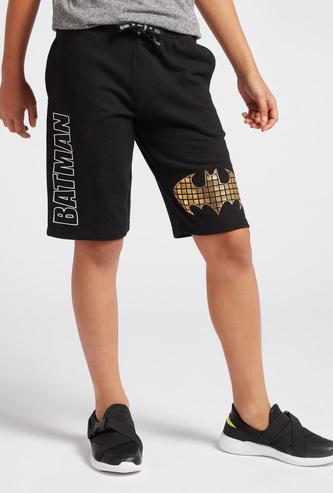Batman Logo Foil Print Shorts with Pockets