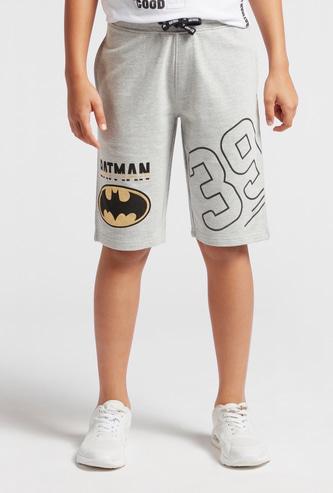 Batman Print Shorts with Pockets and Drawstring