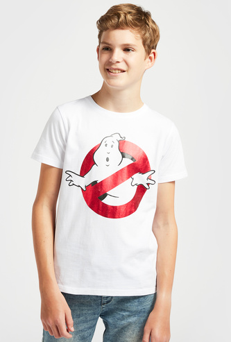 Ghostbusters Print T-shirt with Short Sleeves and Round Neck
