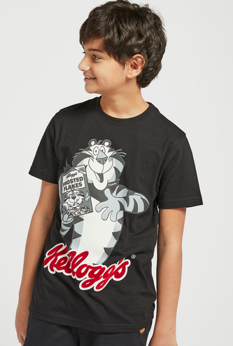 Kelloggs Print Round Neck T-shirt with Short Sleeves