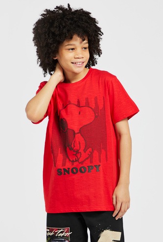 Snoopy Print Round Neck T-shirt with Short Sleeves