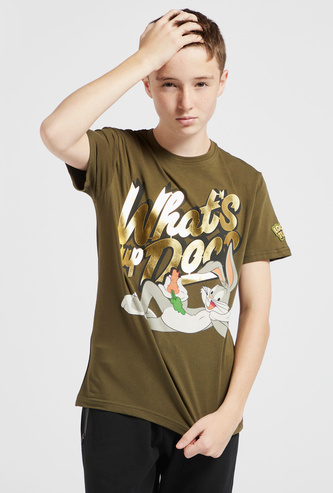 Bugs Bunny Graphic Printed T-shirt with Round Neck and Short Sleeves