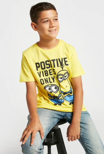 Minions Graphic Print T-shirt with Round Neck and Short Sleeves