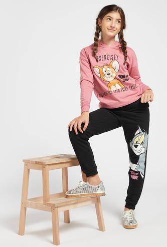 Tom and Jerry Print Hoodie and Jog Pants Set
