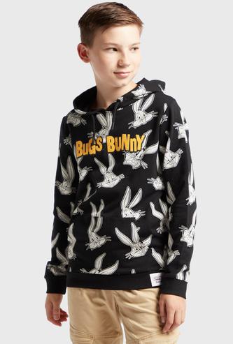 All-Over Bugs Bunny Print Hooded Sweatshirt with Long Sleeves