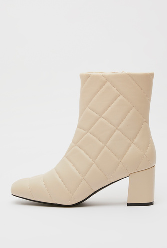 Quilted Boots with Zip Closure and Block Heels