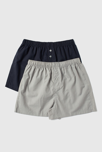 Set of 2 - Button Detail Boxer Briefs with Elasticised Waistband