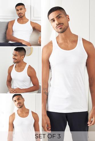 Set of 3 - Plain Sleeveless Vest with Scoop Neck