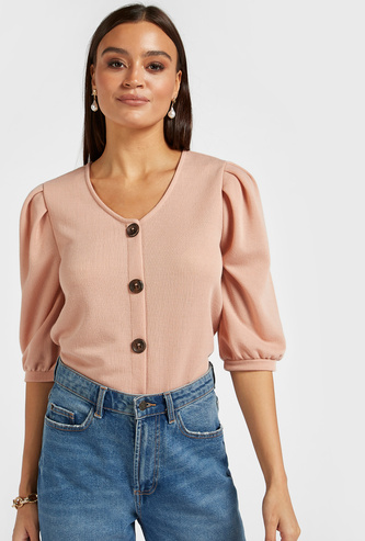 Textured Top with V-neck and 3/4 Sleeves