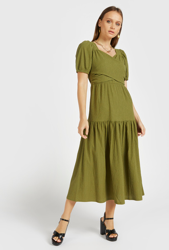 Textured Midi Tiered A-line Wrap Dress with V-neck and Short Sleeves