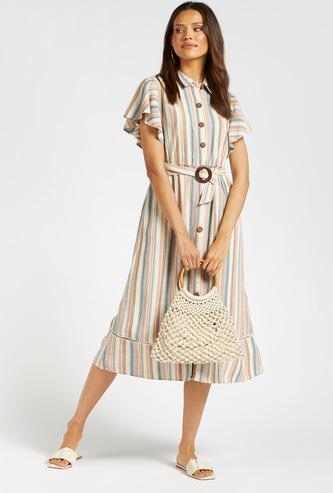 Striped Midi Shirt Dress with Waist Belt and Pockets