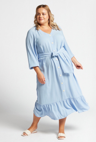Solid Tiered Midi Dress with Long Sleeves and Tie-Ups