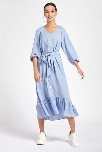 Solid Midi Tiered Dress with V-neck and 3/4 Sleeves