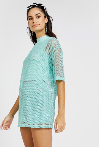 Mesh Detail Boxy T-shirt with High Neck and Short Sleeves