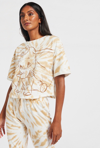 Dumbo Print Tie-Dye T-shirt with Short Sleeves