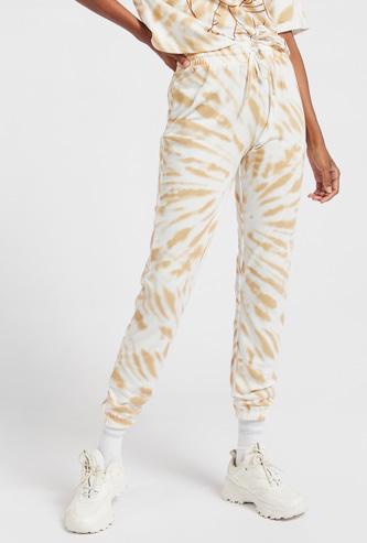 Tie-Dyed Print Jog Pants with Drawstring Closure