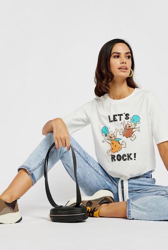 Flintstones Print Round Neck T-shirt with Short Sleeves