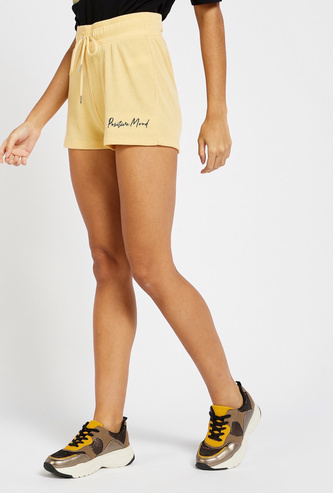 Textured Shorts with Drawstring Closure and Text Detail