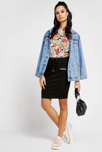 Embroidery Detail Pencil Skirt with Drawstring Waist