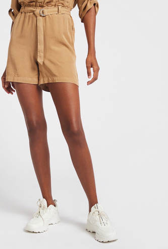 Solid Bermuda Shorts with Paperbag Waist and D-ring Belt