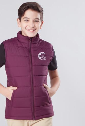 Textured Sleeveless Pocket Detail Jacket