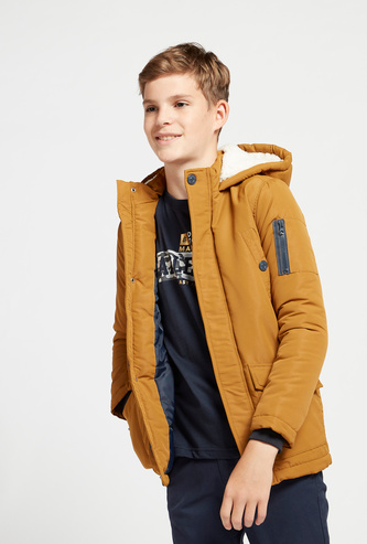 Solid Jacket with Hood and Long Sleeves