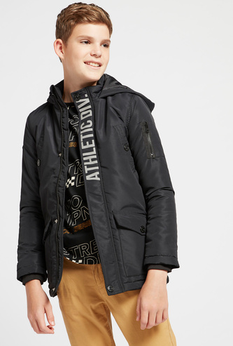 Printed Jacket with Hood and Pockets