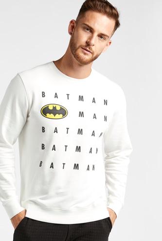 Batman Graphic Print Sweatshirt with Crew Neck and Long Sleeves