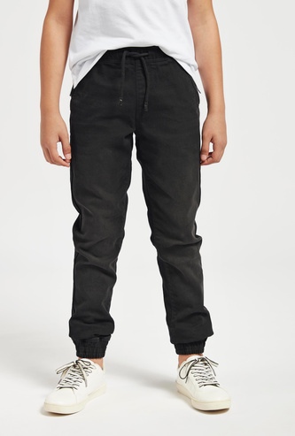 Solid Full-Length Joggers with Drawstring Closure and Pockets