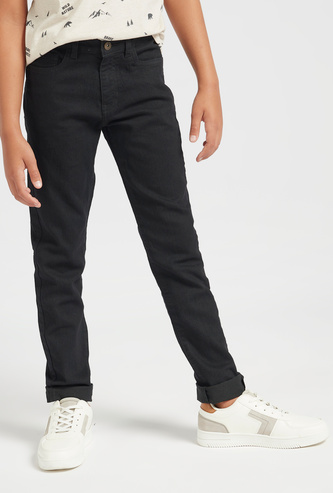 Solid Full Length Jeans with Pockets