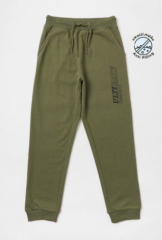 Typographic Print Full Length Joggers with Drawstring Closure and Pockets