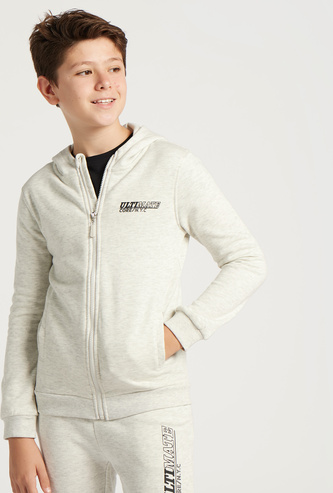 Solid Zip Through Jacket with Long Sleeves and Hood