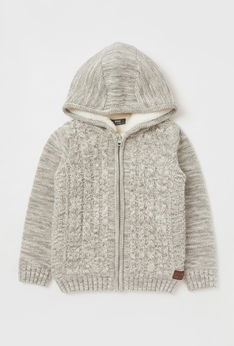 Cable-Knit Sweater with Hood and Zip Closure